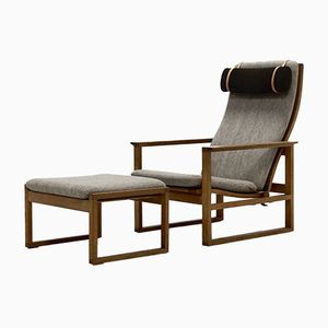 Model BM2254 Oak Lounge Chair & Ottoman by Børge Mogensen for Fredericia, 1956