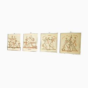 Céramiques Murales par Gio Ponti, Set de 4