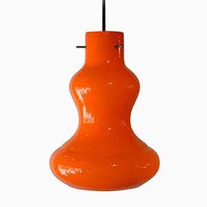 Orangefarbene Italienische Muranoglas Hängeleuchte, 1950er