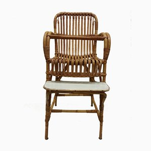 Mid-Century Rattan Children's High Chair