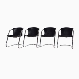 Italian Dining Chairs by Willy Rizzo for Cidue, 1970s, Set of 4