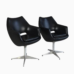 Danish Black Vinyl Swivel Office Chairs, 1970s, Set of 2