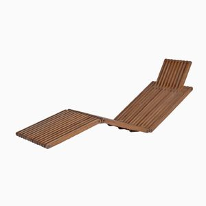 French Foldable Pine Deck Chair, 1970s