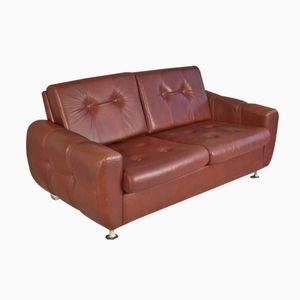 Danish Two-Seater Brown Leather Sofa, 1970s