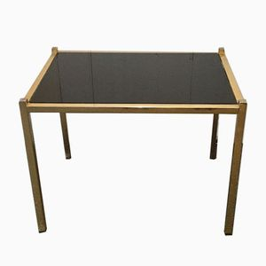 Vintage French Glass and Brass Side Table, 1960s
