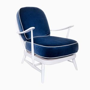 Mid-Century White and Blue Windsor 203 Lounge Chair by Lucian Ercolani, 1950s