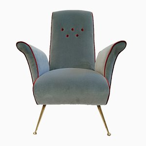 Mid-Century Italian Velvet Armchair with Spider Legs