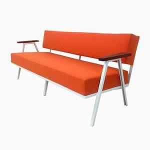 Orangenfarbenes Vintage 3-Sitzer Sofa