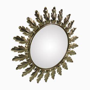 Vintage Brass Sunburst Mirror, 1970s