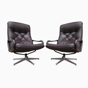 Vintage Leather Swivel Chairs by André Vandenbeuck for Strässle, Set of 2