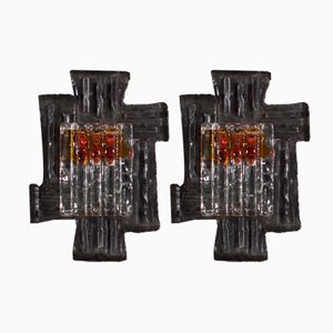 Swedish Brutalist Sconces by Tom Ahlström & Hans Ehrich for A & E, 1970s, Set of 2