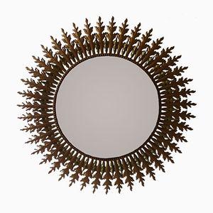 Large Vintage Mid-Century Brass Sunburst Wall Mirror, 1950s