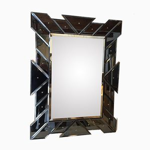 Italian Mirror with Anthracite Glass Frame, 1970s