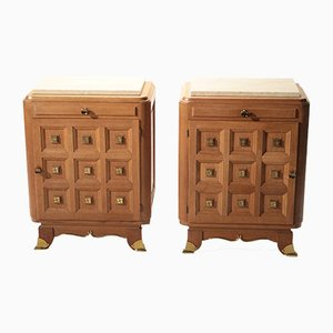Oak and Brass Bedside Tables, 1940s, Set of 2