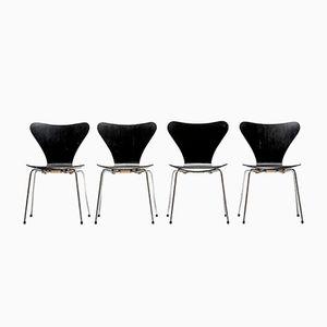 Vintage 3107 Butterfly Chairs der Serie 7 von Arne Jacobsen für Fritz Hansen, 4er Set