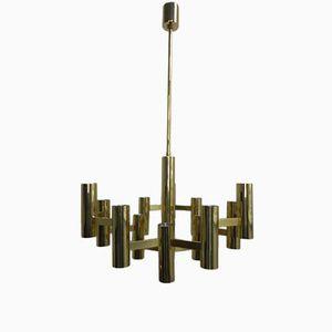 Brass Ceiling Light by Gaetano Sciolari for Boulanger, 1970s