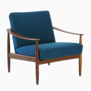 Blauer Polsterstuhl aus Walnussholz, 1960er