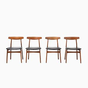 Dining Chairs by Henning Kjaernulf for Bruno Hansen, 1950s, Set of 4