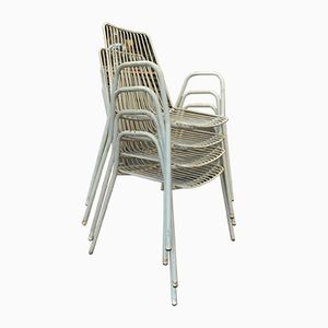 Metal Stacking Garden Chairs, 1960s, Set of 4