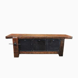 Former Carpenter's Metal and Wood Workbench, 1930s