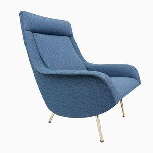 Blauer Sessel von Aldo Morbelli für Isa Bergamo, 1950er
