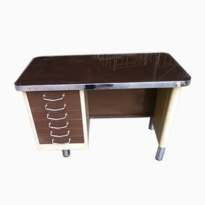 Vintage Mid-Century Metal & Glass Desk
