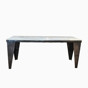 Vintage Metal & Marble Table, 1940s
