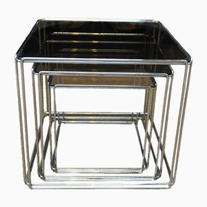 Chrome and Glass Nesting Coffee Tables by Max Sauze, 1970s