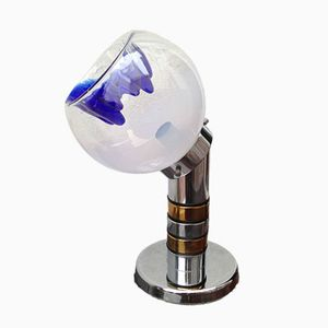 Vintage Blue Murano Glass Table Lamp by Carlo Nason for Mazzega, 1960s