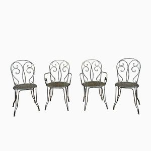 Metal Garden Chair and Armchairs, 1970s, Set of 4
