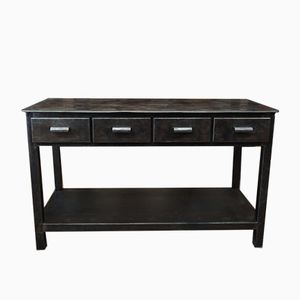Industrial Factory Metal Console with Three Drawers, 1950s