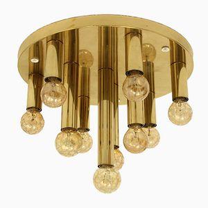 Mid-Century German Brass Ceiling Lamp with Ten Bulbs from Sölken, 1960s
