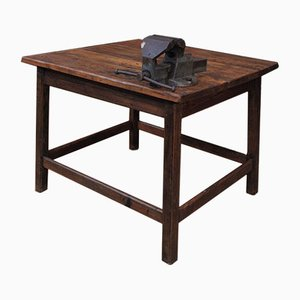Industrial Fir Table with Vise, 1930s