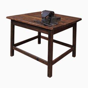Industrieller Tannenholz Tisch mit Schraubstock