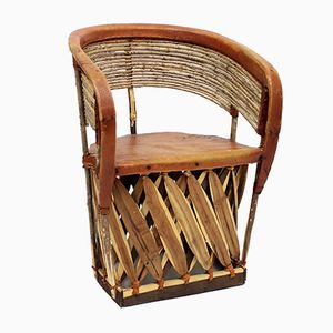 Hand-Made Equipale Barrel Chair with Twig Back, 1980s