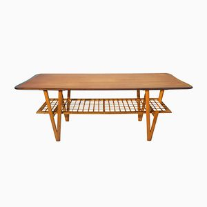 Vintage Danish Teak Coffee Table with V-Shaped Legs