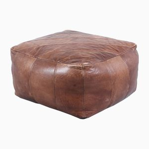 Brown Leather Pouf, 1970s