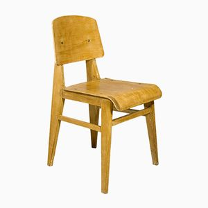 French Wooden Standard Chair by Jean Prouvé, 1940s