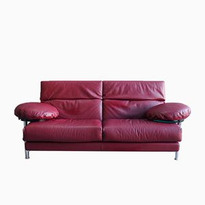 Vintage Red Leather Arca Sofa by Paolo Piva for B&B Italia