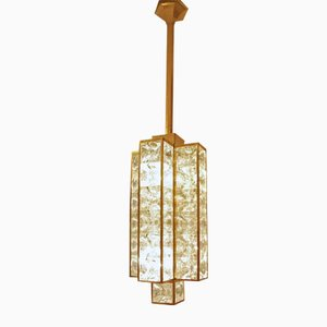 Vintage Brass Pendant with Glass Cubes, 1970s