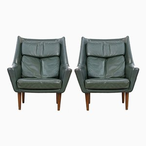 Vintage Danish Dark Green Leather Lounge Chairs, Set of 2
