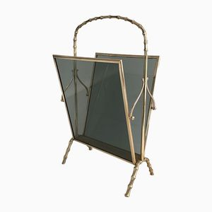 Bronze & Glass Magazine Holder from Maison Bagués, 1940s