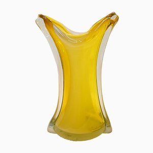 Mid-Century Italian Gold Amber Glass Vase from Venini, 1967