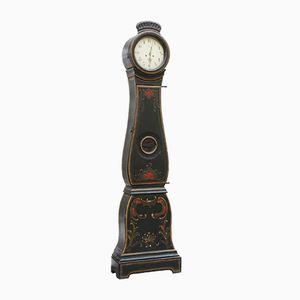 Antike Schwedische Mora Uhr mit Gemaltem Blumenmuster