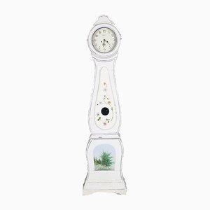 Antike Schwedische Mora Uhr mit Bemaltem Blumenmuster