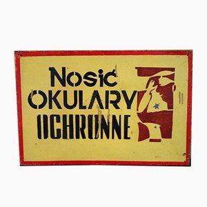 Industrieller Polnischer Vintage Fabrik Warnschild