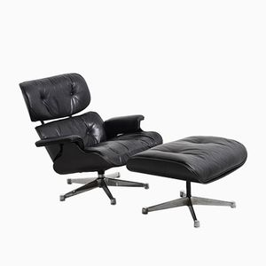 Black Lounge Chair & Ottoman by Charles & Ray Eames for Herman Miller, 1950s