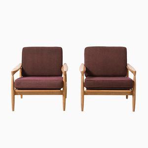 Mid-Century Oak Lounge Chairs, 1950s, Set of 2