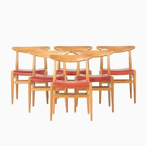 W2 Dining Chairs by Hans J. Wegner for C.M. Madsen, 1960s, Set of 6
