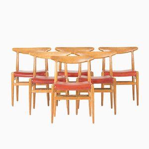 W2 Esszimmerstühle von Hans J. Wegner für C.M. Madsen, 1960er, 6er Set